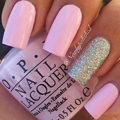 Pale pink with a silver glitter accent nail