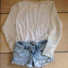 boho spring summer top brand new crochet sleeves Tops Blouses