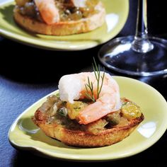 Top toast with sweet caramelized onions and shrimp in this easy bruschetta recipe for a healthy appetizer.
