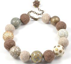 polymer clay and felt ball bracelet, made by Debra DeWolff