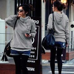 Ladies trendy warm high neck pullover sweater hoodie
