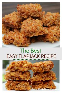 Learn how to make the best and super easy flapjack recipe that the whole family will love. This is a recipe for the kids to make as well as enjoy eating. This is definitely a British recipe but will soon become your favorite. How To Make Flapjacks, Easy Flapjacks, Tray Bake Recipes, Baking Recipes, Cookie Recipes, Healthy Flapjack, Healthy Snacks, Healthy Recipes, Healthy Bars