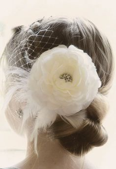 vintage wedding hair piece, love