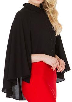 Black Plain False 2-in-1 Cape Fashion Chiffon Blouse