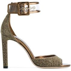 Jimmy Choo Moscow 100 sandals (2 005 PLN) ❤ liked on Polyvore featuring shoes, sandals, heels, sapatos, grey, leather sandals, grey high heel sandals, gray sandals, open toe sandals and high heel sandals