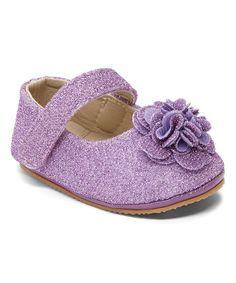 Purple Sparkle Flower Mary Jane by Xeyes #zulily #zulilyfinds