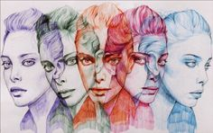 Ballpoint Pen Sketches & Drawings. Beautiful ballpoint Pen drawing, incredible how he overlaps the different images of the model.  More Information and more from this Artist, Press the Image.