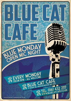 Blue Cat Cafe Open Mic Night Poster