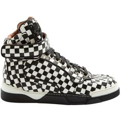 Pre-owned Givenchy Leather Trainers ($463) ❤ liked on Polyvore featuring shoes, sneakers, black, women shoes trainers, high-top sneakers, black leather high tops, black velcro sneakers, black high tops and hi tops