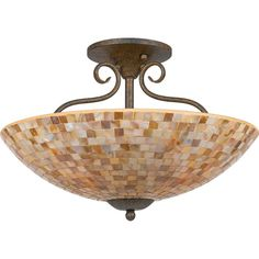"Quoizel MY1718 Monterey Mosaic 4 Light 18"" Wide Semi-Flush Ceiling Fixture with Malaga Indoor Lighting Ceiling Fixtures Semi-Flush"