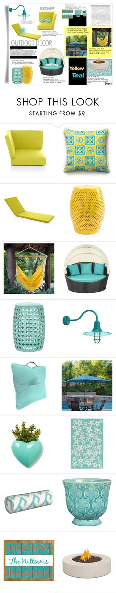 """""""Page 1-outdoor decor:yellow and teal. All the must haves for a stellar patio."""" by tori-holbrook-th ❤ liked on Polyvore featuring interior, interiors, interior design, home, home decor, interior decorating, Crate and Barrel, NOVICA, Jordan Brand and WALL"""