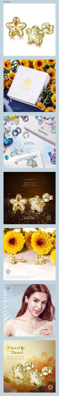 DISSONA ohrringe silber 925 für Frauen handmade: ohrringe ohrringe gold Kristalle von Swarovski ohrringe mädchen silber ohrringe damen 925 - 14hd