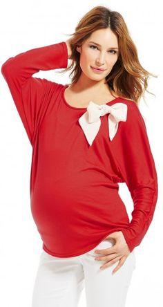 Pull grossesse Envie de Fraises. On craque sur le noeud blanc qui sublimera votre look de femme enceinte.