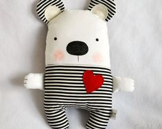 Black and White Striped Handmade Stuffed Teddy Bear Soft Toy Bear Modern Baby Nursery Decor Fabric Teddy Bear Plush Black White Red Bear