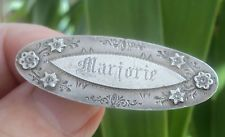 Edwardian Sterling Silver Name Brooch 1903 Chester  - MARGORIE Victorian Names, Victorian Jewelry, Vintage Jewelry, Name Jewelry, Chester, Brooch Pin, Brooches, Silver Rings, Wedding Rings