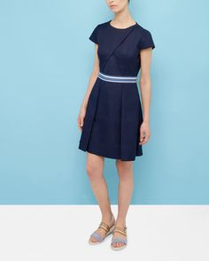 Colour block pleated dress - Navy | Dresses | Ted Baker SEU