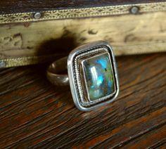 Labradorite Ring by CosmicNorbu on Etsy, $98.00
