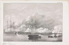 Anonymous   Overwinning op Palembang, 1821, Anonymous, Emrik & Binger, 1853 - 1861   Beschieting van de kustbatterijen gelegen aan de rivier in Palembang op Sumatra door Nederlandse oorlogsschepen tijdens de Tweede expeditie naar Palembang op 24 juni 1821. Genummerd rechtsboven: LXXXVIII.