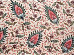 """装飾用布「花と葉の散らし模様」 フランス 1780年頃 (ジュイ=アン=ジョザス オーベルカンプ工場)   Furnishing fabric """"Semis de fleurs et de feuilles""""  Oberkampf factory, Jouy-en-Josas, France c.1780"""
