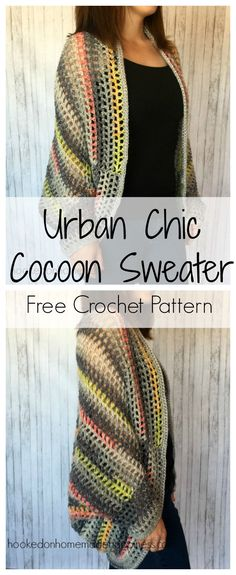 I really enjoy making cocoon sweaters. They're super easy to make and there are endless possibilities. Trust me when I say, any crocheter can make this sweater! If you can crochet a rectangle, you can make a cocoon sweater. I am obsessed with the yarn I used for this project. I used Yarn Bee's Urban Chic in Gray. I love everything about it… the colors, the feel, the weight… everything! This pattern is available as an inexpensive, clearly formatted, PDF instant download HERE in my Etsy shop. P...