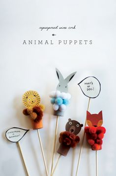 How to male lovely Animal Puppets with Corks - Petit & Small
