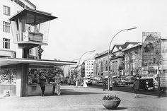 Verkehrskanzel am Joachimstaler Platz (Kurfürstendamm /Ecke Joachimstaler Straße im Ortsteil Charlottenburg), c.a. 1961 As Time Passes, West Berlin, East Germany, Cold War, Street View, Photography, Historical Pictures, The Fifties, Remember This