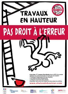 """""""Travaux en hauteur, pas droit à l'erreur"""", affiche de la campagne de prévention des chutes de hauteur 2014"""