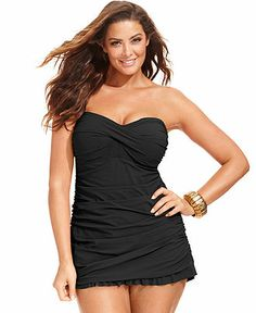 Profile by Gottex Plus Size Ruched Ruffle-Hem Swimsuit - Plus Size Swimwear - Plus Sizes - Macy's