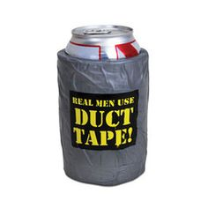 Duct tape is a staple of manliness. It fixes anything, and many different things can even be made out of it. The duct tape koozie looks like it's made of real duct tape (okay, duct tape can't do EVERYTHING), and will keep your beverage cold while keeping your hands dry. Great for parties! Makes a great gift for any manly man who like to work with his hands.
