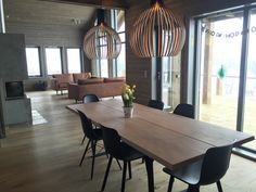 Our mountain cabin dining room. dk3 lowlight table and secto octo lamps