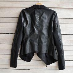 Dámske oblečenie 2015 New Hot Vintage Ženy Slim PU kožená bunda s dlhým rukávom Biker Motocyklové Coat Black Jeseň Zima J4139-in Basic bundy z dámske oblečenie a príslušenstvo na Aliexpress.com   Alibaba Group