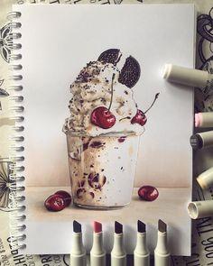 Dark Art Drawings, Pencil Art Drawings, Realistic Drawings, Chibi Kawaii, Colored Pencil Artwork, Pen Illustration, Copic Art, Food Painting, Art Journal Techniques