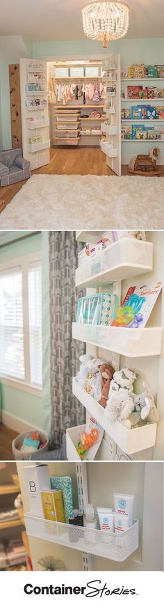 Design expert and HGTV stars, Peyton and Chris Lambton agree! No nursery closet is complete without elfa utility Door Wall Racks. We made sure to outfit their double doors with them. Mesh Baskets are easily moved as needed. The different sizes accommodate Nursery Storage, Nursery Organization, Wall Storage, Storage Ideas, Book Storage, Bedroom Storage, Kids Storage, Closet Organization, Wardrobe Storage