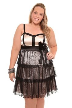Black And Ivory Tiered Tank Dress With Feather | Clearance