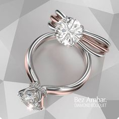Trendy Diamond Rings :    Solitaire Engagement Ring Two Tone Gold –  - #Rings https://youfashion.net/wedding/rings/diamond-rings-solitaire-engagement-ring-two-tone-gold/