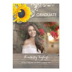 Sunflower Lace Photo Graduation Party Announcement - tap/click to personalize and buy  #graduation #photo #graduation #graduation #announcement Graduation Party Themes, College Graduation Parties, Graduation Party Invitations, Graduation Photos, Graduation Cards, Grad Parties, Graduation Ideas, Senior Invitations, Graduation Celebration