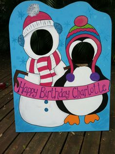 The first in the Winter Wonderland theme. This adorable snowman and penguin welcome your party guest with a banner for the guest of honor. Snap