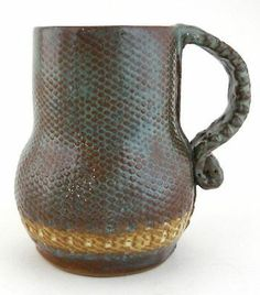 Large Pottery Mug Cup Hand Built Stoneware Clay Blue Brown Yellow OOAK 28 Oz   eBay