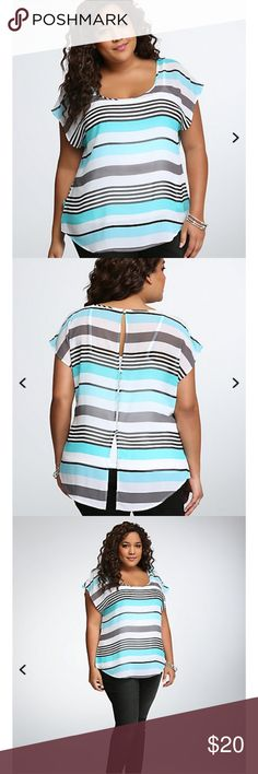 """Striped Chiffon Dolman Blouse Earn your stripes in no time (grey, white, and turquoise stripes to be specific). A swingy dolman style with a curved hem, the sheer chiffon is easy-moving and breathable. With an open back, this bold style is ready for the beach and beyond.  * Measures 29 1/2"""" from shoulder * Polyester * Wash cold, dry low Torrid Tops Blouses"""