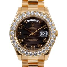 Men's Rolex Day-Date II Yellow Gold Black Wave Arabic Dial Diamond Bezel President Band