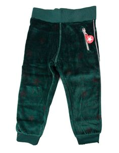 Kik*Kid - Donkergroene velours broek met zwarte sterren