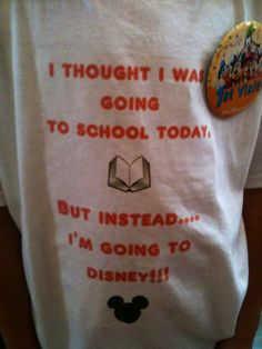 Easy to make surprise trip shirt I spotted at Disney! Simply print on transfer paper & iron on!