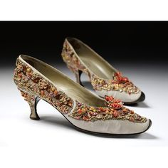 France - Pair of evening shoes by Roger Vivier for Dior - Embroidered silk grosgrain with pastes, silver and gold metal thread, brilliants and beads Vintage Dior, Mode Vintage, Vintage Shoes, Vintage Outfits, Vintage Fashion, 1950s Fashion, Victorian Fashion, Christian Dior, Roger Vivier Shoes