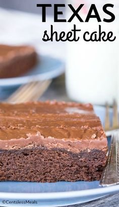 Texas Sheet Cake, a cross between your grandma's chocolate cake and a decadent brownie. #centslessmeals #brownie #chocolatecake #chocolate #easyrecipe #dessert #sheetcake