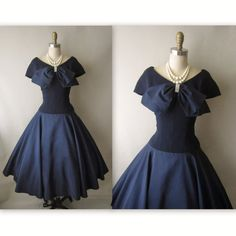 50's Cocktail Dress // Vintage 1950's Navy Taffeta New Look Full Cocktail Party Dress