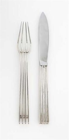 JEAN PUIFORCAT Prototype fork and knife, ca. 1930  Fork: silver; knife: silver, stainless steel. Knife: 9 1/2 in. (24.1 cm) long Each handle impressed with maker's mark and French hallmark