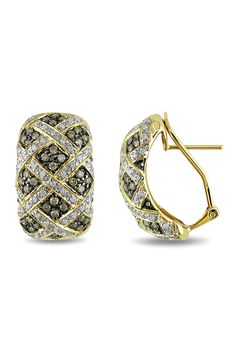 1.75 CT Brown And White Diamond Earrings In 18k Yellow Gold