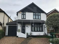 The technique for spray painting all PVC windows and frames with a variety of long lasting durable finishes including Dulux and Farrow and Ball and RAL. House With Grey Windows, House Windows, Facade House, Bay Window Exterior, Grey Exterior, 1930s House Exterior Uk, Bungalow Exterior, Painting Upvc Windows, Windows