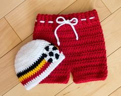 Baby World Soccer HAT & SHORTS or Football Crocheted Belgian Flag Colors White with Black, Gold, Red Stripes Preemie, Newborn, 0-3 Months by Grandmabilt on Etsy