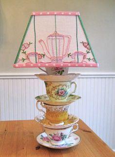 SALE Tea Time Vintage Lampshade by Sassyshades on Etsy Tea Cup Lamp, Teapot Lamp, Chandelier Lamp, Chandeliers, Vintage Tea, Vintage China, Lamp Light, Tea Pots, Tea Towels